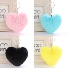 Pompom Fluffy Heart Shape Car Motorcycle Keychain Faux Rabbit Fur Women Car  Pendant Key Ring Fashion Jewelry Soft Lovely db6dace1d7