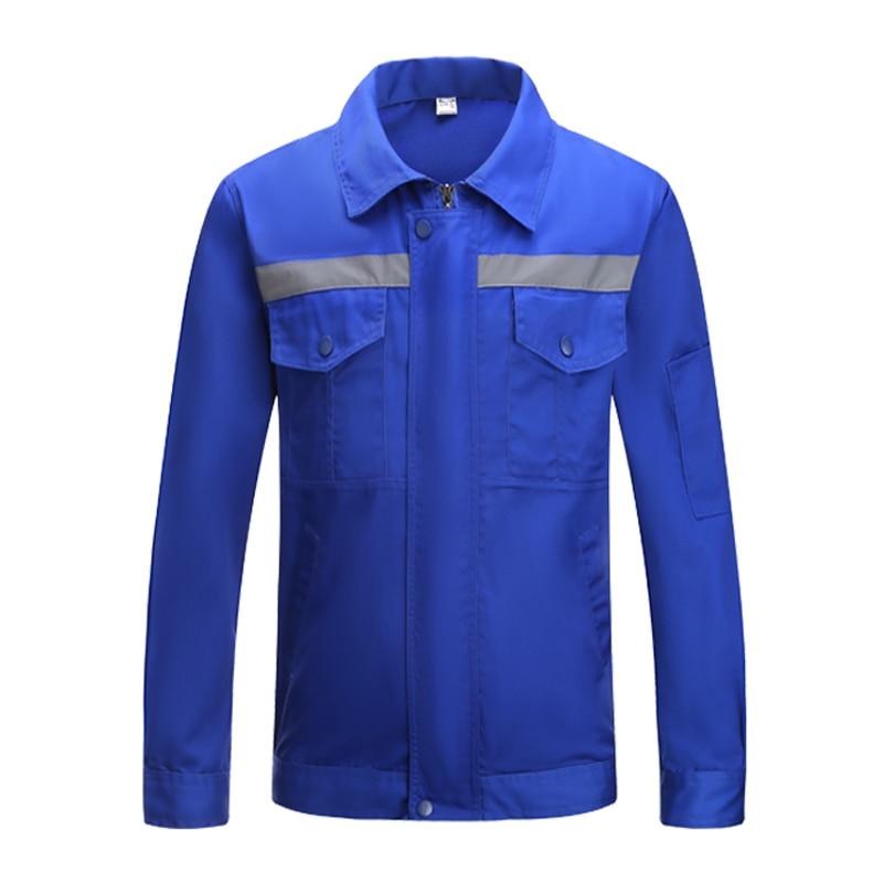 Long Sleeve Blue Work Wear Work Jacket With Reflective Stripes Uniform Shirt Men