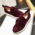 34-40 Комфорт обувь дышащий цветочные украшения 2016 моды личности овец замши Женщин Повседневная Обувь