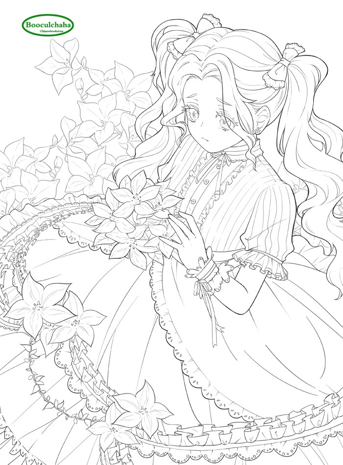 Us 16 93 23 Off Flower And Meng Niang Adult Anti Stress Coloring Book Anime Hand Drawn Comic Line Drawing Books In Books From Office School