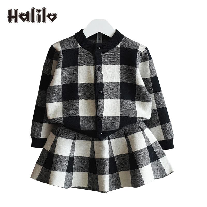 Halilo/детские костюмы, весенне осенняя куртка с длинными рукавами + юбка, комплект из двух предметов, черный и красный цвета, костюм для девоче