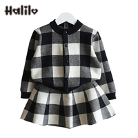 Halilo Kids Suits Spring Autumn Long Sleeve Coat + Skirt Two Piece Black Red Girls Outfit Kids Suit For Girls Clothing Sets New