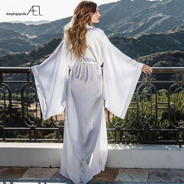 AEL Fashion Loose Soft Comfortable Night Robe Women Belt Bathrobe Women's Sleep Sexy Sleepwear Shift 2017 Select 3 Color 3
