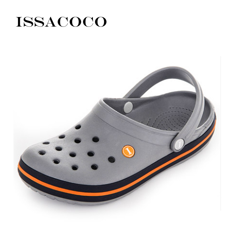 ISSACOCO 2018 Slippers Holes Shoes Sandals Men Hole Slippers Sandals Men Breathable Beach Shoes Zapatos Hombre Pantuflas Chinelo fghgf shoes men s slippers mak