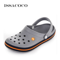ISSACOCO 2019 Slippers Holes Shoes Sandals Men Hole Slippers Sandals Men Breathable Beach Shoes Zapatos Hombre Pantuflas Chinelo