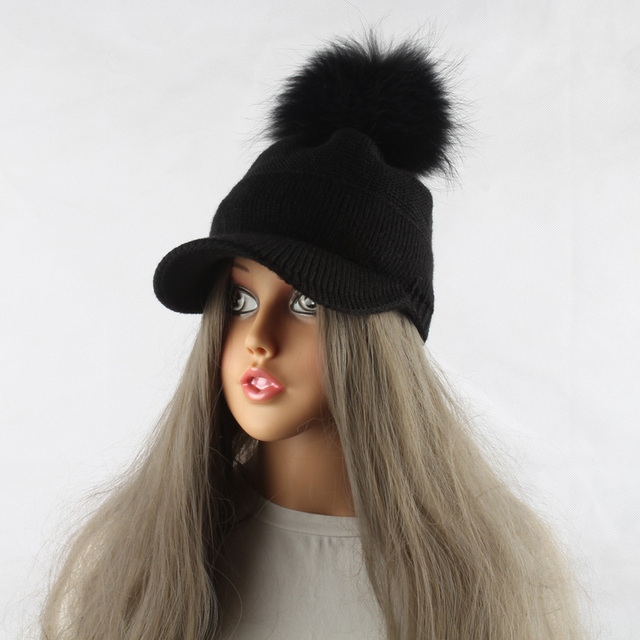 New Winter Fur Pompom Hat For Women Spring Cotton Knitted Baseball Cap With Pompon Brand Visor Caps Ladies Skullies Beanies 8