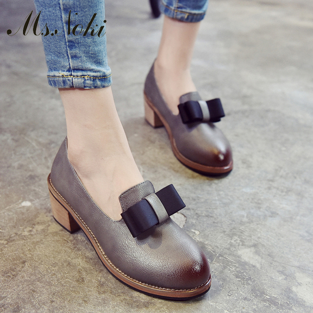 Ms.Noki New Arrival women cute low heels shoes butterfl pump shoes size 35-39 women pumps Spring/summer gray casual chaussure