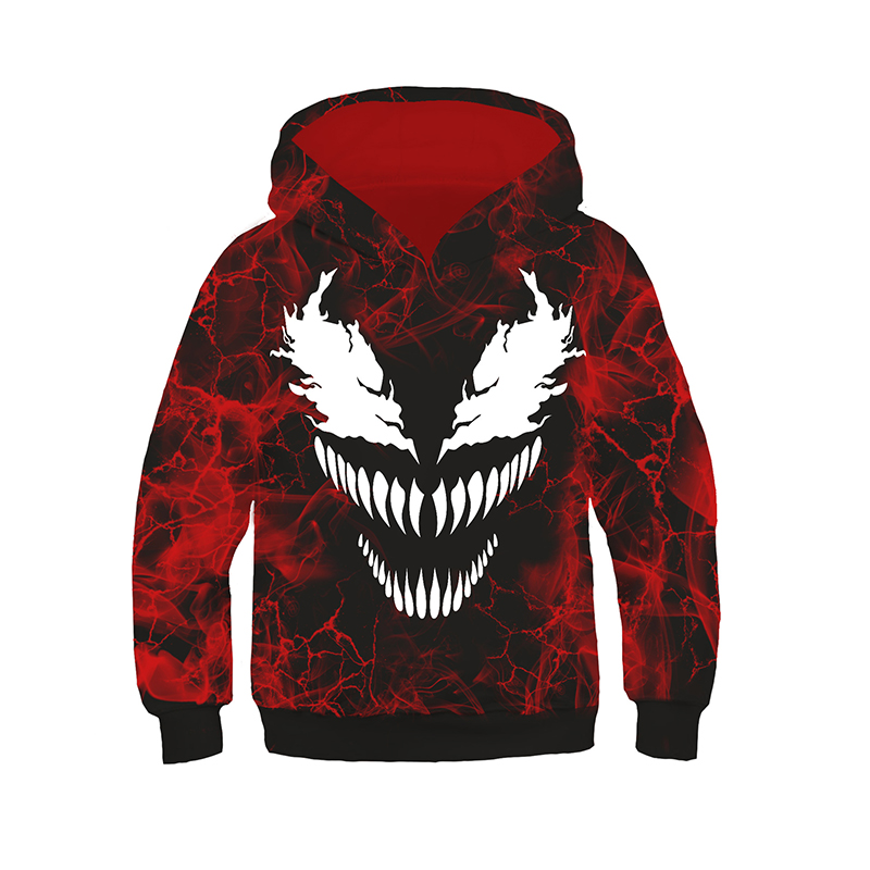 Boys Girls Venom Hoodie Cosplay Spider-man Costumes 3D Cool Jackets Hooded Pullover Sweatershirts Tops Coats For Children