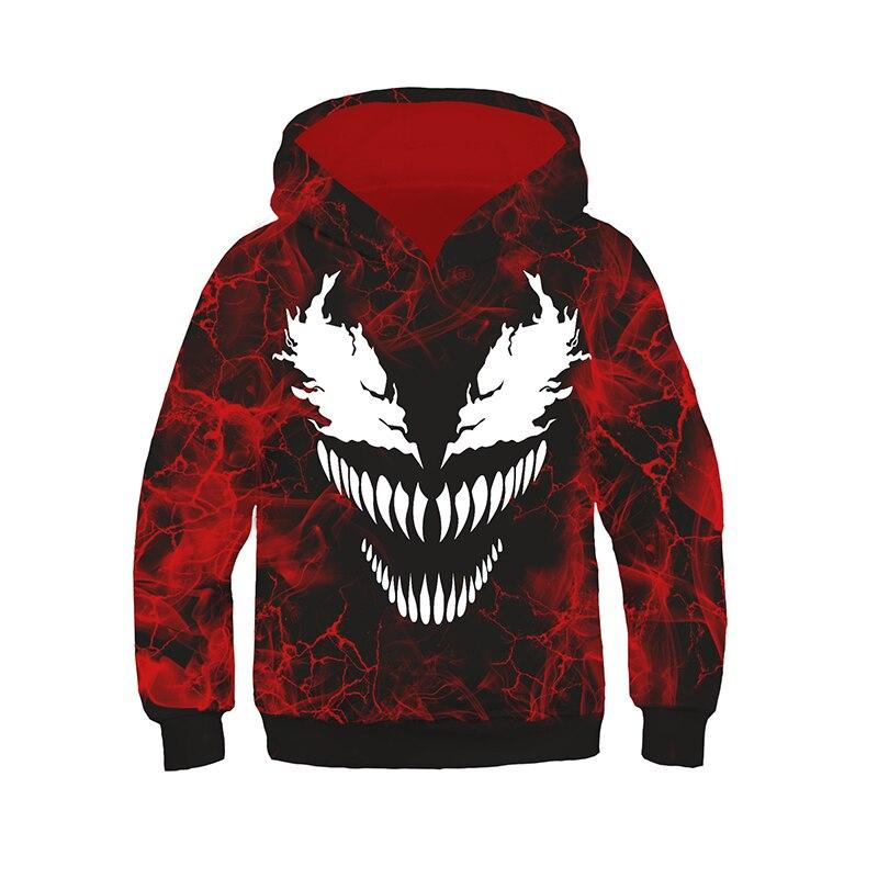 Garçons filles Venom à capuche Cosplay Spider-man Costumes 3D Cool vestes à capuche pull Sweatershirts hauts manteaux pour enfants