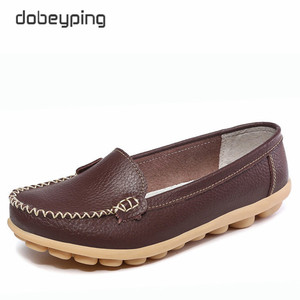 Image 5 - Casual Shoes Women Soft Genuine Leather Womens Loafers Slip On Womans Flats Shoe Low Heel Moccasins Footwear Large Size 35 42