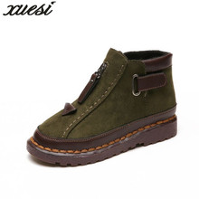 XUESI Winter New Round Suede Low With Martin Boots Fashion Zipper Short Tube Wild Shoes Round