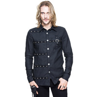 Punk Men Cotton Casual Shirts Rivet Trun Down Collar Long Sleeve Shirts Spring Victorian Cotton Blouses
