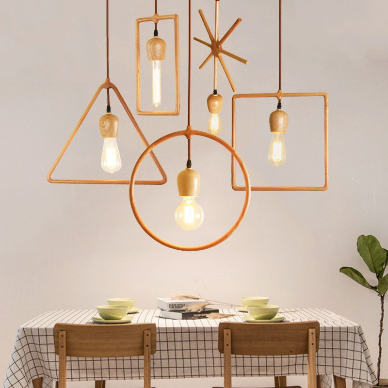 Woodwork Simple Special-shaped Pendant Lights Triangle Square Rectangular Round Wooden Frame Living Room Bedroom Study HanglampWoodwork Simple Special-shaped Pendant Lights Triangle Square Rectangular Round Wooden Frame Living Room Bedroom Study Hanglamp