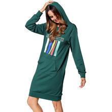 #185336# Autumn Women Fashion Long Hooded Sleeve Color Stripes Printed and Stitched Embroidery Sweatershirts Encapuchado