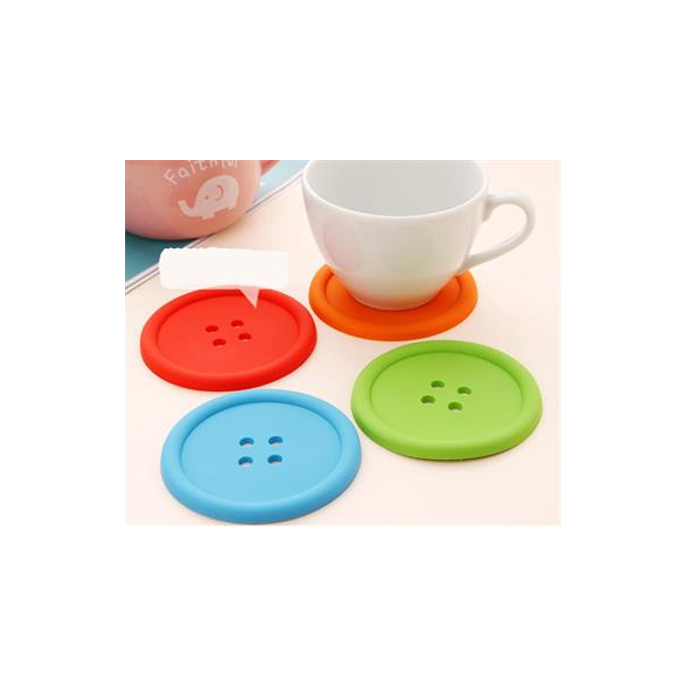 Coasters Cup Mat Mug Glass Pads Household Round Silicone Button Cushion  Holder Drink Placemat Nonslip Heat Resistant Mat