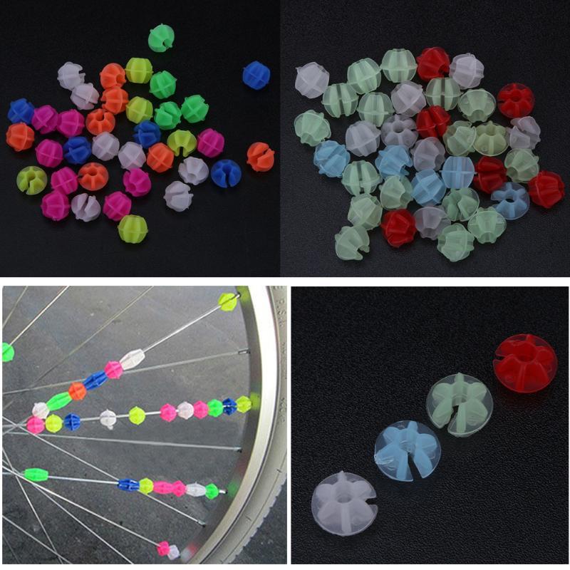 1Bag Bicycle Luminous Plastic Wheel Spoke Colorful Beads Decoration MTB Bike Universal Mountain Bike Bicycle Wheel Tire Beads