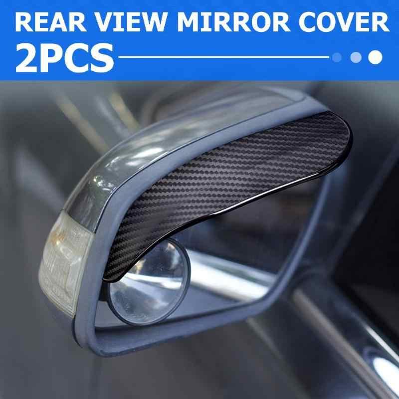 2 قطعة ألياف الكربون نظرة سيارة الجانب مرآة الرؤية الخلفية المطر الحاجب قناع الشمس الظل الثلوج الحرس الطقس درع غطاء اكسسوارات السيارات