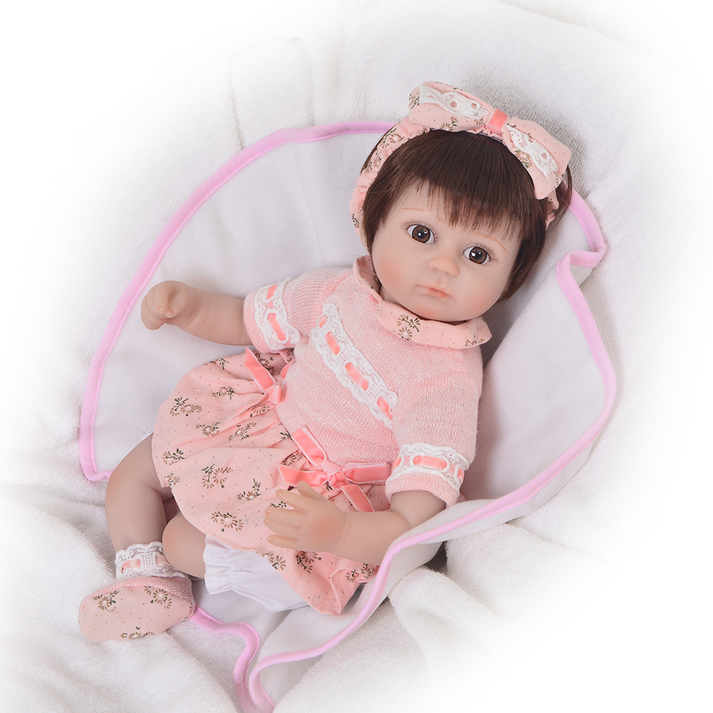 16 Inch Lifelike Reborn Baby Dolls Girl Gifts Soft Silicone Toy Alive Simulation Toddler Babies Doll Lovely Wear Pink Dress bebe 16 inch lifelike reborn baby dolls girl gifts soft silicone toy alive simulation toddler babies doll lovely wear pink dress bebe
