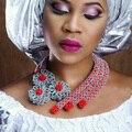 Удивительный Серебряный Африканской Моды Ювелирные Наборы Красный Костюм Женщины Кристалл Партия События Аксессуары и Украшения Бесплатная Доставка WD611