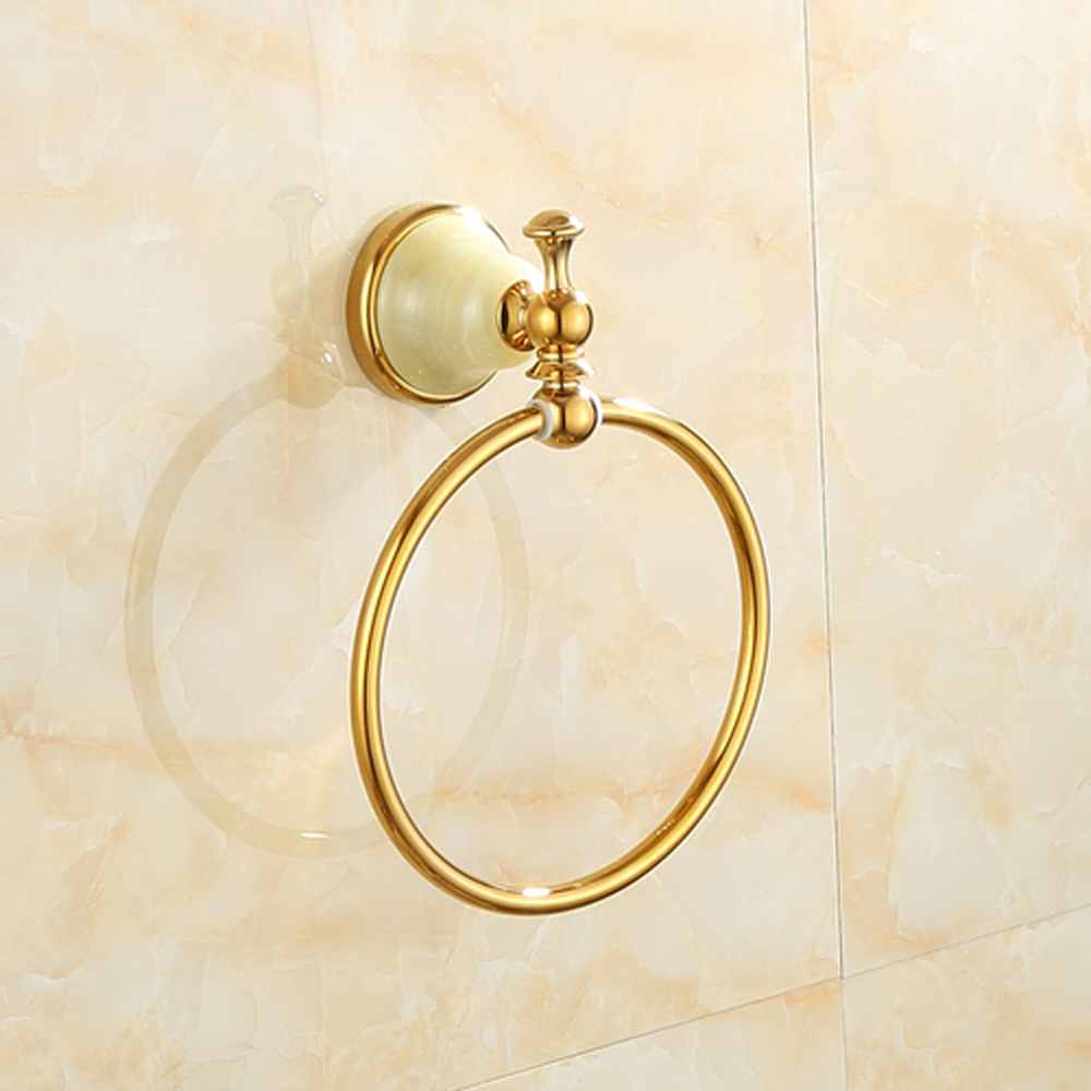 A1 All-copper natural jade towel rack bathroom towel hanging ring hardware pendant wx6211154 a1 european copper black gold bathroom hardware pendant towel hanging single pole towel bar brass frame wx6211448