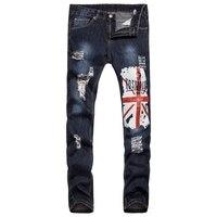 2017 Nova Ripped Midweight Calça Dos Homens Slim Fit Buraco Cônico Perna Impressão Bandeira Americana Marca de Jeans Dos Homens Calças de Brim Elásticas Hombre