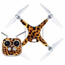 [J40083] Леопардовый принт водонепроницаемая ПВХ наклейка на кожу наклейка для DJI Phantom 4 Drone Защитная пленка для тела+ крышка пульта дистанционного управления
