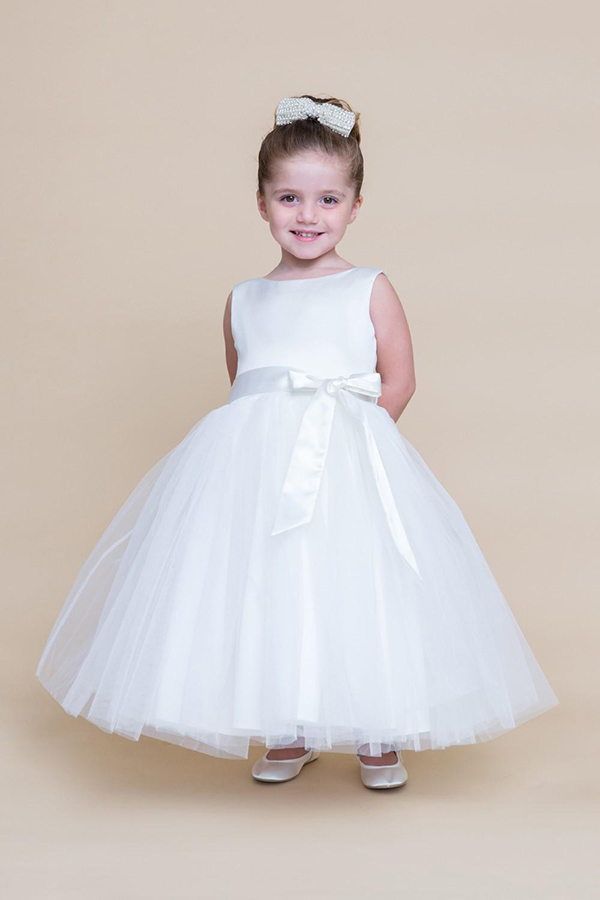 A-Line Flower Girls Dresses For Wedding Gowns White First Communion Dresses for Girls Long Mother Daughter Dresses For Party white flower girls dresses for wedding gowns a line baby girl clothes suitable first communion dresses for girls