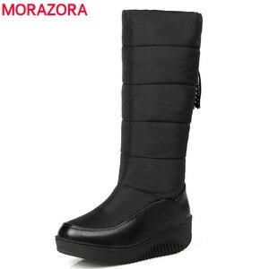 Image 1 - MORAZORA Plus rozmiar 35 44 rosja ciepłe buty na śnieg patent pu skórzana platforma do połowy łydki buty damskie obuwie zimowe buty niebieski czarny