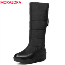 MORAZORA Plus size 35 44 Russia warm snow boots patent pu leather platform mid calf women boots footwear winter shoes blue black