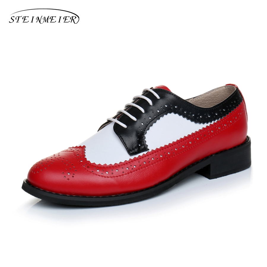Genuine leather big woman US size 11 designer vintage flat shoes round toe handmade red white black oxford shoes for women fur women flats oxford shoes big size flat genuine leath vintage shoes round toe handmade black 2017 oxfords shoes for women