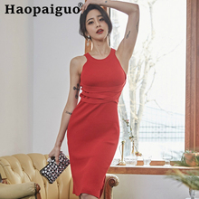 2019 Summer Halter Sexy Knitted Dress Women Split High Elastic Off Shoulder Ladies Dresses Sleeveless Basic Wear Red