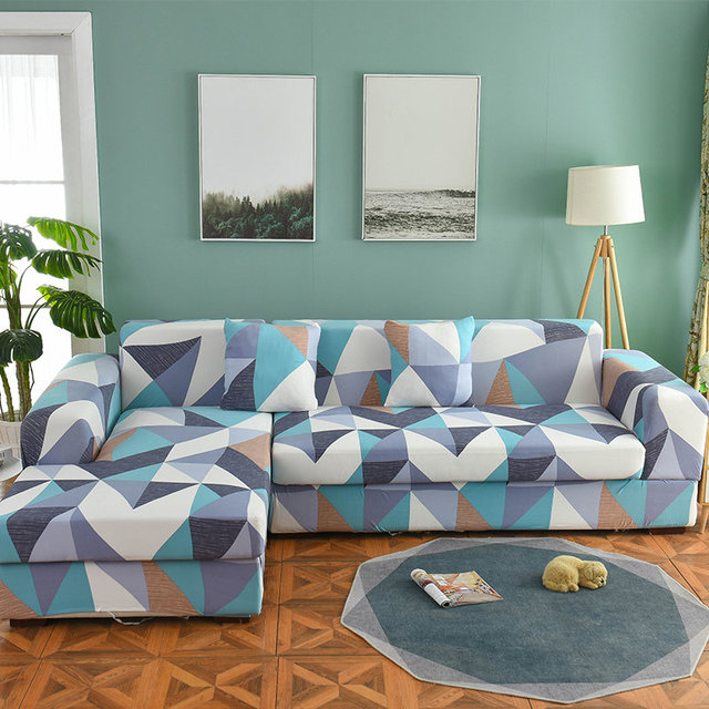 1/2 pieces Sofa Cover Set Geometric Couch Cover Elastic Sofa Cover for Living Room Pets Corner L Shaped Chaise Longue Sofa Cover 4