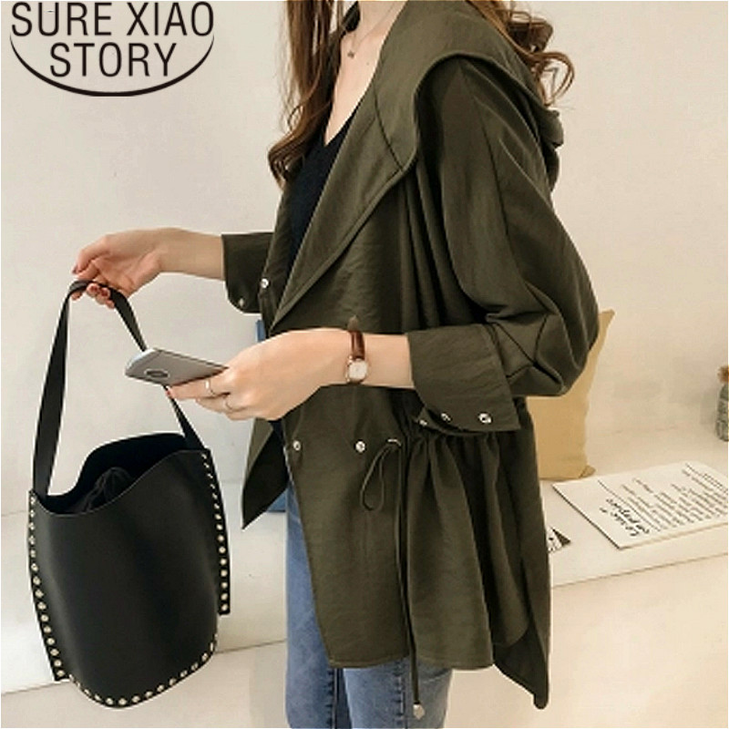 women clothes 2019   trench   female new loose hooded windbreaker female long sleeve womens   trench   coats plus size clothes 1729 50