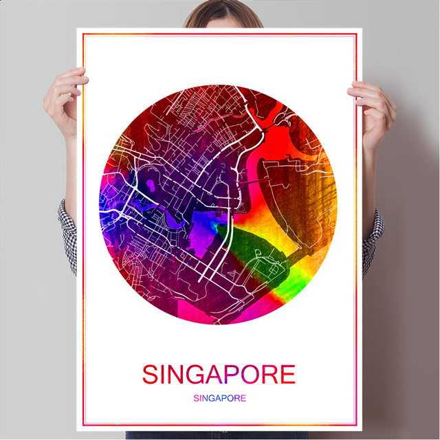 World famous city map singapore print poster print on paper or world famous city map singapore print poster print on paper or canvas wall sticker bar cafe gumiabroncs Choice Image