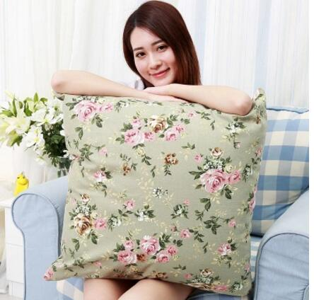 65x 65/70x70cm Cotton Fabric Pastoral Floral Style Large Cushion Cover Decorative Square Flower Lumbar Pillow Case Indoor