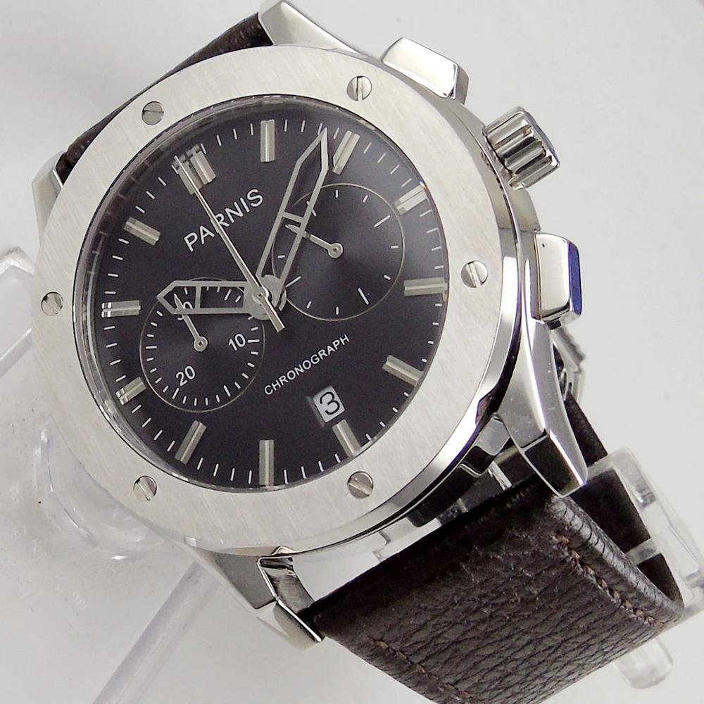 Parnis 44 мм Полный Хронограф Мужские кварцевые часы 218 черный циферблат развертывания застежка