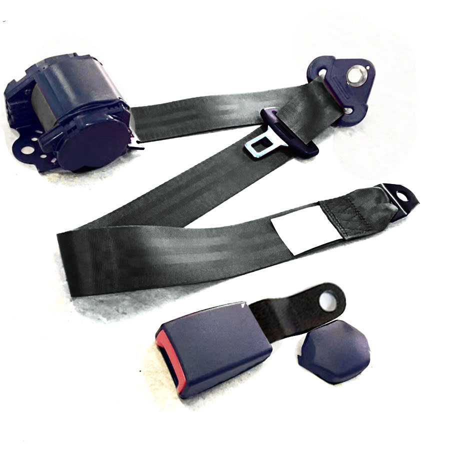 1Set Black 3 Point Adjustable Car Seat Belt Lap /& Diagonal Belt Iron Plate Style