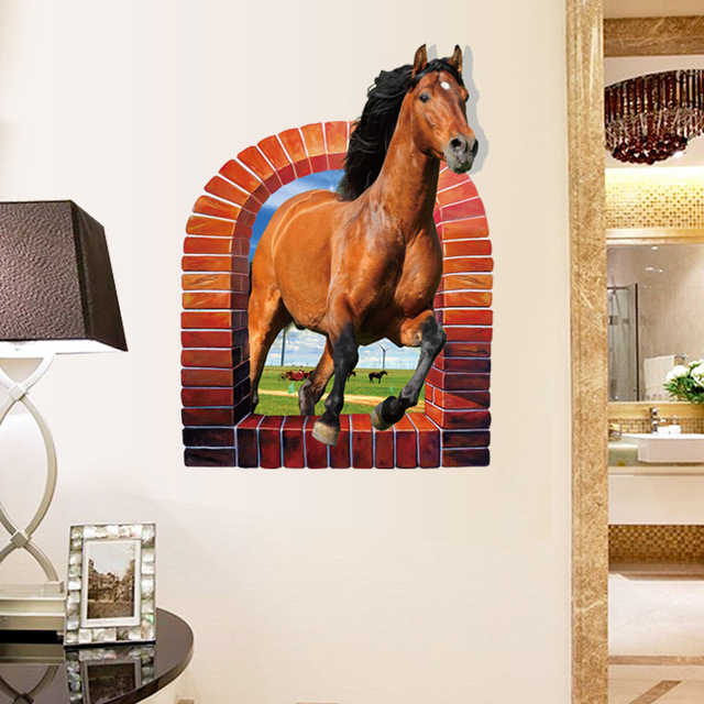 3D Arch Wall Broken Wall Pattern Wall Stickers Horse Wall Decals Vinyl  Stickers Room Decor Home Decoration Wallpaper Posters