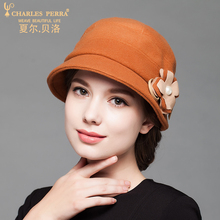 Charles Perra Women Fashion Hat Cap 2017 NEW Winter Thicken Double Layer Wool Caps Elegant Casual Lady Bucket Hats 5602 winter hat 2016 new lady korean hat fashion cashmere knitted hat thicken double button other ear cap hats for women patchwork