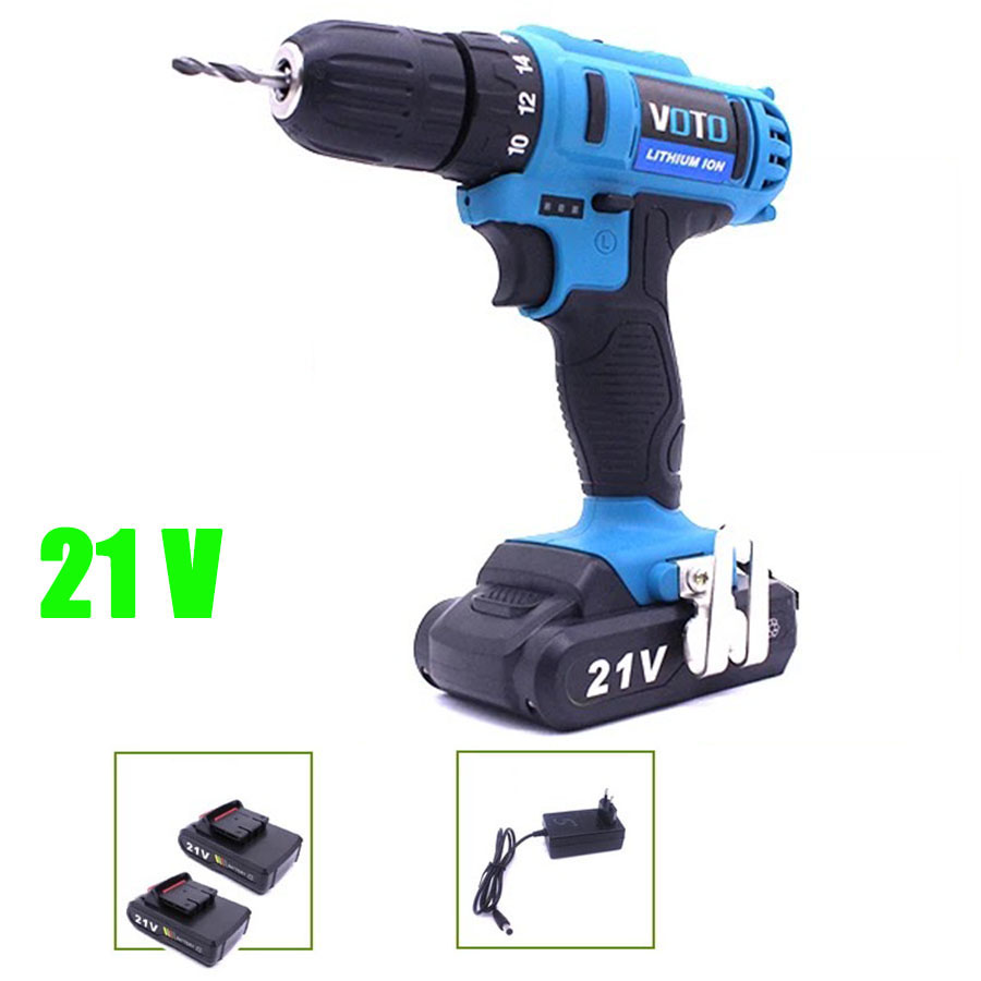VOTO 2*Battery Rechargeable Cordless Drill Electric Screwdriver Set Lithium Power Tools Screw Gun Driver 12V 16.8V 21V Blue