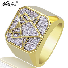 HOT!!! Hip Hop Hot Star Rings For Men Irregular Geometric Cubic Zirconia Ring Jewelry Luxury Brand 18k Gold Accessories