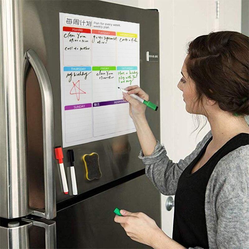 Tableau blanc magnétique 2019 calendrier hebdomadaire agenda quotidien calendrier aimants réfrigérateur liste de choses à faire organisateur pour la cuisine