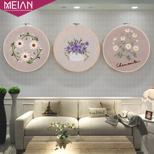 Meian, Flower Embroidery with Bamboo Hoop Handmade DIY Plain Stitch Painting,Cross Stitch,Crafts Needlework Sewing New Year Deco(China)