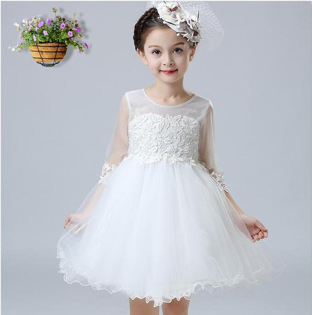 Elegant Autumn Baby Girl Dress White Wedding Dresses Flower Tulle ...