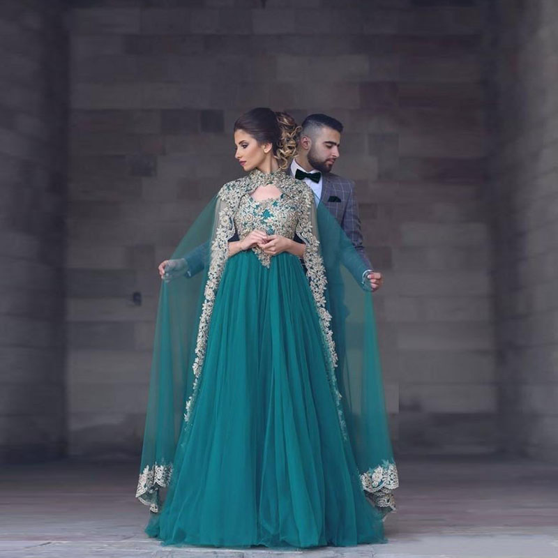 0322f68369 US $138.57 7% OFF|Elegant Green Arabic Evening Gowns With High Neck  Applique Floor Length Jacket Cape Tulle Formal Evening Gown Long India  style-in ...