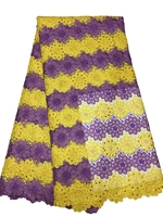 New purple with yellow water soluble rhinestones African cord lace guipure lace fabric material for women wedding dress 5 Yards