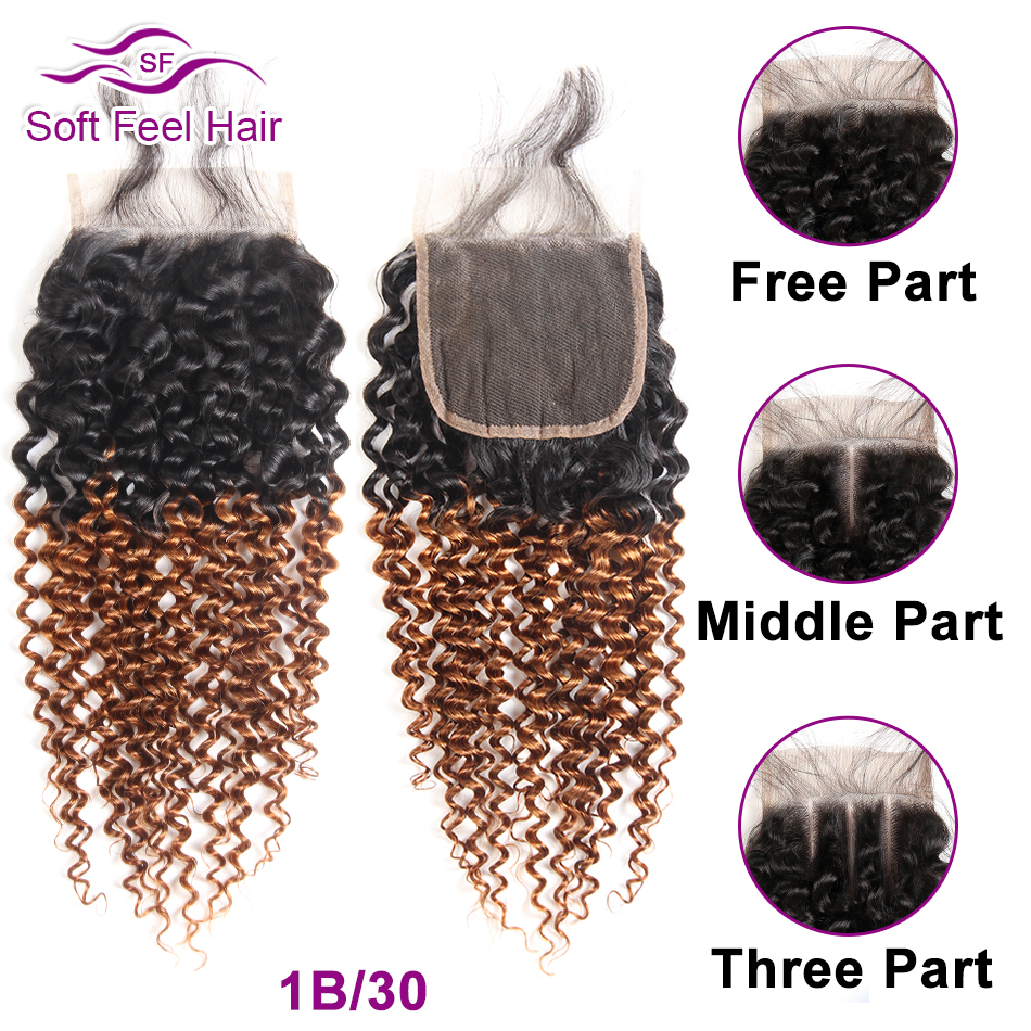 Image 4 - Soft Feel Hair Brazilian Kinky Curly Closure With Baby Hair Black Burgundy Ombre Human Hair Lace Closure 4x4 1B/30 Remy Closure-in Closures from Hair Extensions & Wigs