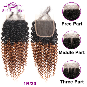 Image 5 - Soft Feel Hair Brazilian Kinky Curly Closure With Baby Hair Black Burgundy Ombre Human Hair Lace Closure 4x4 1B/30 Remy Closure