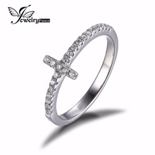 JewelryPalace 925 Sterling Silver Anniversary Ring Fine Jewelry for Women Wedding Cross Shape Band Party Gift For Women