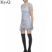 Ky & q الضوء الأزرق سيدة مثير الرباط فساتين الصيف عارضة قصيرة كم الوقوف الياقة البسيطة اللباس 2017 جديد إمرأة حزب vestidos تونك